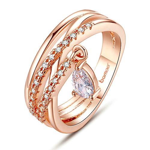 LVYE1 Frauen Rose Gold Ringe Eingelegt Mit 3A Zirkonia Galvanik Gold 18K Kupferringe Mit Anhänger Geburtstagsgeschenk Für Freunde,8US