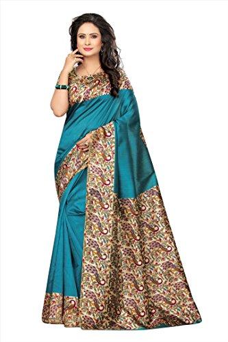 Winza Designer Silk Saree With Blouse Piece (KALAMKARI-K50_Traditional Blue_Free)