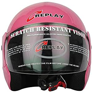 Replay Essex Hit Plain Open Face Helmet with Clear Visor (Pink, M)