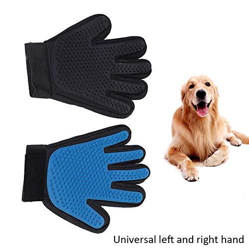 2 in 1 Tierhaar Gummi Handschuh Entferner,Handschuhe Haustier Pflegen Massage mit verbesserten,Haustier fünf Fingers Massage Fellpflegehandschuh für Hunde Katzen Pferde Shedding Handschuhe