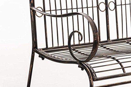 CLP Metall Gartenbank PURUSHA, 2-Sitzer, Landhaus-Stil, Eisen lackiert, Design nostalgisch Bronze - 6