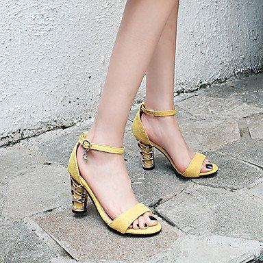 LvYuan Da donna Sandali Felpato Estate Autunno Fibbia Quadrato Nero Giallo 7,5 - 9,5 cm Yellow