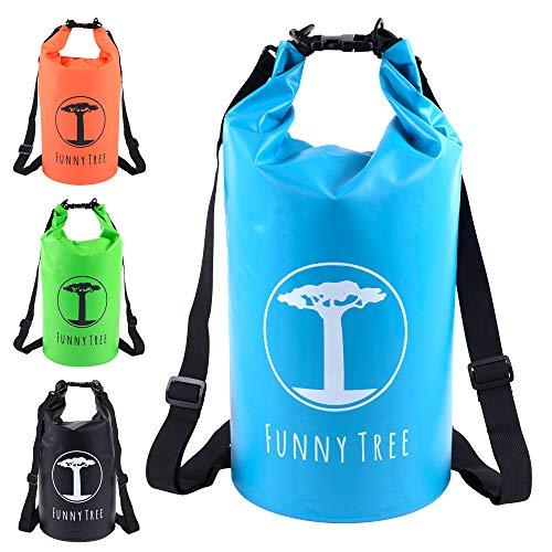 Funny Tree® Drybag. (20L blau) Wasserdichter (IPx6), verbesserter DryBag. Inklusive Wasserdichter Handy-Hülle | Stand Up Paddle | Angel Zubehör | schwimmfähig | Sling Bag | Ski-Fahren | Snow-Boarden