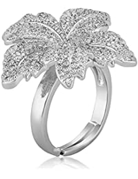 Shaze Brass Silver Floral Extravaganza Rings for Women