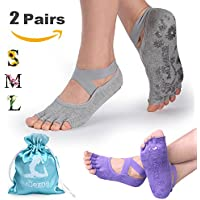 Muezna Non Slip Yoga Socks for Women, Toeless Pilates, Barre, Ballet, Bikram Fitness Socks with Anti-Skid Grips, Cotton