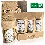 ☘️ CAFE GRAIN BIO ● Café en Grain Arabica ● Coffret café dégustation, Torréfaction Artisanale, 4x250g ● Idée Cadeau