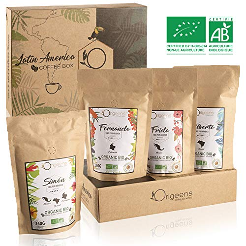 Preisvergleich Produktbild BIO Kaffeebohnen Premium Probierset Arabica Kaffee Ganze Bohnen Set 4x250g Traditionelle Röstung Säurearm Geschenk-Idee für Vatertag / Muttertag