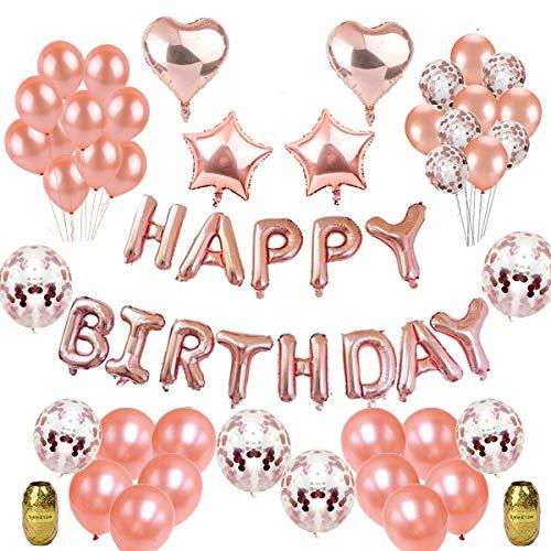 """Herefun Deko Geburtstag, Geburtstagsdeko Mädchen Rosegold mit 16"""" Happy Birthday Banner, 20Pcs 12"""" Ballons, 15Pcs Rosegold Konfetti Luftballons, 4Pcs 18 """" Folie Sterne Herz Ballons und Blasrohr, Band"""