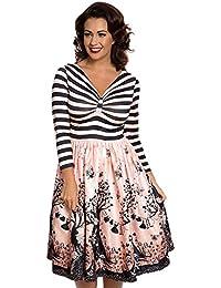 Swing robe Sinead avec des fées imprimé rose / noir - Vintage, années 50, Rockabilly - L / NL40 - Lindy Bop