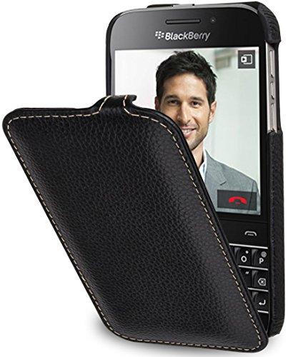 StilGut® UltraSlim Case, Hülle Tasche aus Leder mit On-/Off-Funktion für BlackBerry Classic Q20, schwarz
