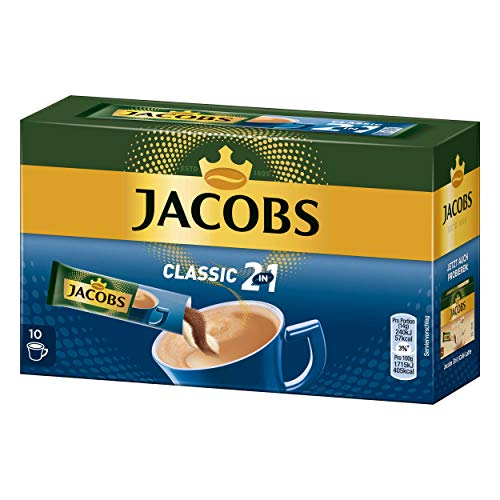 Jacobs 2in1 löslicher Kaffee, Instantkaffee, 5er Pack, 5 x 10 Becherportionen
