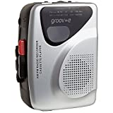 Groov-e Portable Retro Personal Cassette Player and Recorder with Built-In Speaker & Microphone, AM/FM Radio, 3.5mm Headphone Jack and Earphones Included - Black/Silver