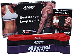 Atemi Sports Resistance Bands | Set of 3 Exercise Bands for Fitness and Strength Training | Workout Guide with 50 Exercises | Resistance Loops Ideal for Crossfit, Yoga, Pilates and Physiotherapy