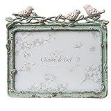 Clayre & Eef 2F0395 Fotorahmen grün mit Vögel 14 x12cm Bilderrahmen Blüten Landhaus