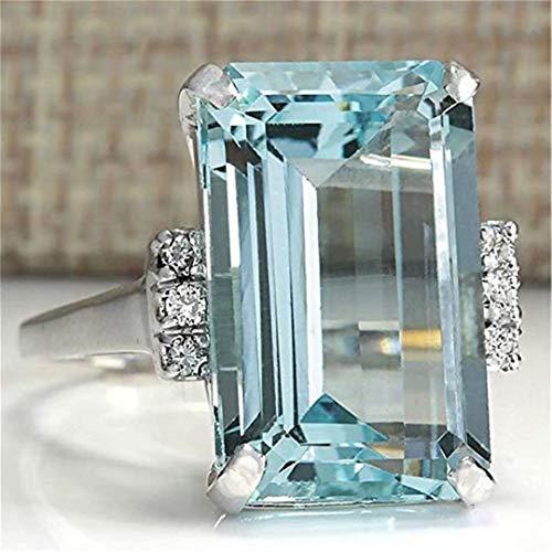 REGOU Topas Verlobungsring Verlobungsring Jubiläumsring Blau Einzelstein 9#