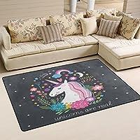 COOSUN Unicorn Area Rug Carpet Non-Slip Floor Mat Doormats for Living Room Bedroom