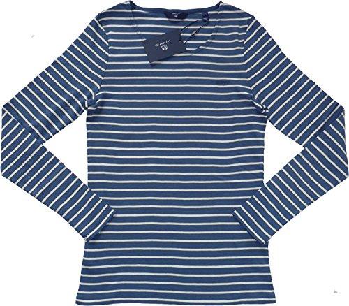 GANT Damen Langarmshirt Rib Stripe T-Shirt Blau