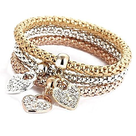 3Pcs Luxury Bracelet Gold Silver Rose Gold Rhinestone Bangle Jewelry (Heart)