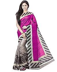 BuyOnn Women's Cotton Silk Saree (OFS1573-PRINT-SARI_Red)