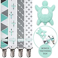 Liname® Dummy Clip for Boys with Bonus Teething Toy - 4 Pack Gift Packaging - Premium Quality & Unique Design - Dummy Clips Fit All Dummies & Soothers - Perfect Baby Gift