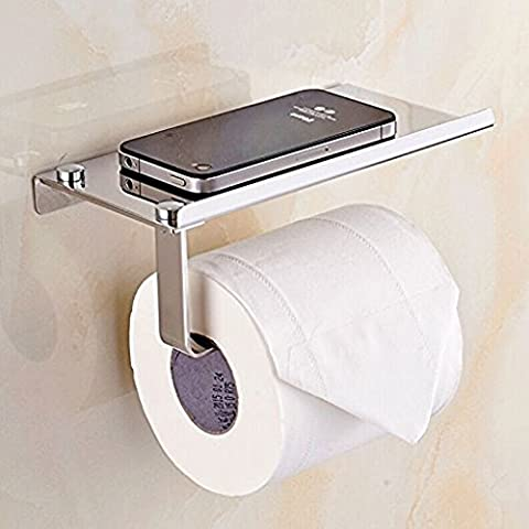BTSKY Stylish Wall Mounted Anti-rust Stainless Steel Bathroom Tissue Holder/Toilet Paper Holder Tissue Roll Bar with Moblie Phone Holder Stand Shelf Bathroom