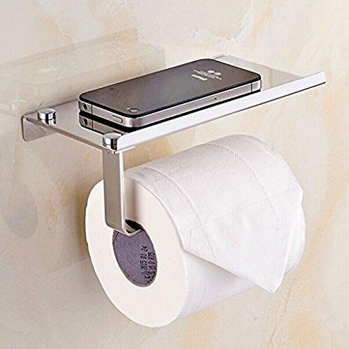 btsky Stilvolle Wand montiert Korrosionsschutz Edelstahl Badezimmer Tissue Halter/WC Papier Halter Tissue Rolle Bar mit Mobiltelefonen Halterung Ständer Regal Badezimmer Zubehör