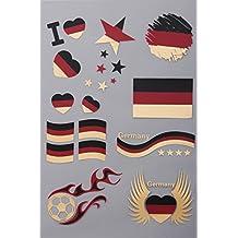 Flaggen Tattoos Deutschland | Flash Tattoo für die Haut | Länder Fanartikel | Fußball Flaggen Fahnen Tattoo von Deutschland | 1 A5 Sheet 21 Motive | verschiedene Länder verfügbar