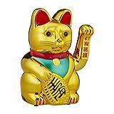 Relaxdays Winkekatze XXL Maneki Neko, batteriebetriebene winkende Pfote, Glücksbringer für Reichtum, Erfolg, 48 cm, Gold
