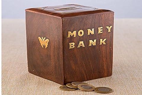 Merci de donner un cadeau pour vos amoureux Banque de monnaie en bois, boîte de monnaie forme carrée, Piggy Bank embrayage de papillon, boîte de rangement..