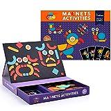 Luckyin Erhöhen Sie die Fantasie 0-6 Jahre altes Geschenkset für Kinder, Puzzle-Magnetspielzeug, Eltern-Kind-Interaktives, Gehirntraining, lustiges Gesicht, Aufkleber und Tablett (56 Teile)