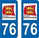 2 Stickers Autocollant style Plaque AUTO Immatriculation département 76 NORMANDIE