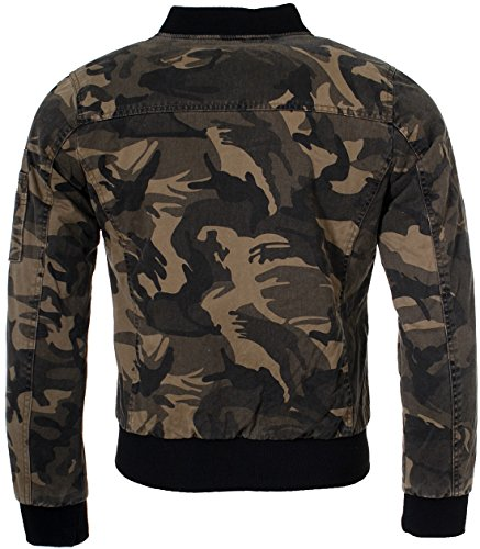 Young & Rich Herren Bomberjacke Fliegerjacke Übergangsjacke camouflage Optik Tarnmuster Look JK-451 Slimfit Übergang Jacke - 2