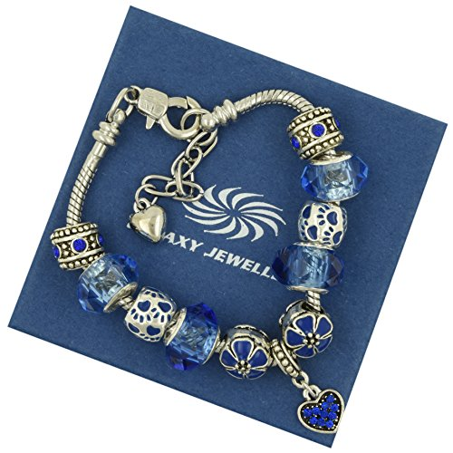 charm-bracelet-blue-flower-ideale-regalo-per-le-donne-e-le-ragazze-viene-fornito-con-scatola-regalo