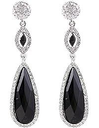 EVER FAITH® Mujeres Diamante de Imitación Cristal Partido Lágrima Piercing Pendiente Negro Plata-Tono