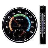 Lantelme 7255analogth ermometer-Higrómetro y analógico termómetro Negro Juego para Interior y Exterior