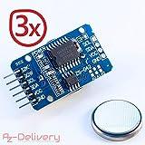 AZDelivery ⭐⭐⭐⭐⭐ 3 x Real Time Clock RTC DS3231 und Gratis Batterie Inklusive I2C für Arduino mit Gratis eBook!