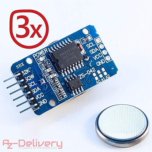 AZDelivery ⭐⭐⭐⭐⭐ 3 x Real Time Clock RTC DS3231 e Batteria gratuita inclusa I2C per Arduino con Ebook gratuito!