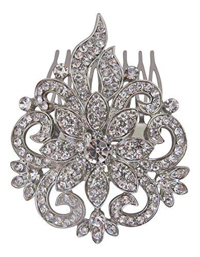 Mariage Accessoires cheveux vintage fleur cristal transparent Argent peigne à cheveux