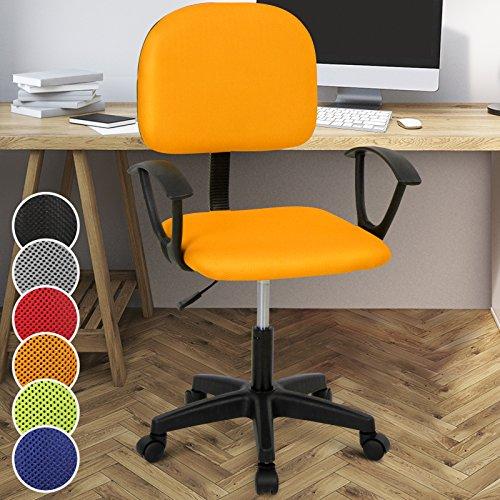 Miadomodo Sedia poltrona girevole da ufficio scrivania con schienale e sedile imbottiti altezza regolabile 82 - 92 cm colore arancione