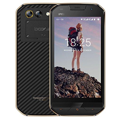 Telephone Portable Debloqué Incassable, DOOGEE S30 Smartphone 4G IP68 Étanche Antichoc, Ecran 5 Pouces - 5580mAh Grand Batterie - 16Go - 2Go de RAM - 5MP + 8MP Caméras - Android 7.0 Double SIM - Or