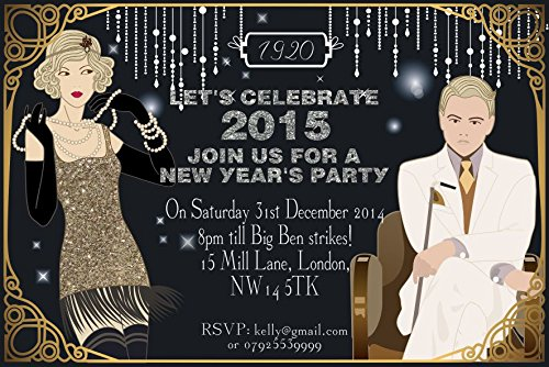 ar New Years Eve Party Einladungen Vintage Great Gatsby Art Deco ()