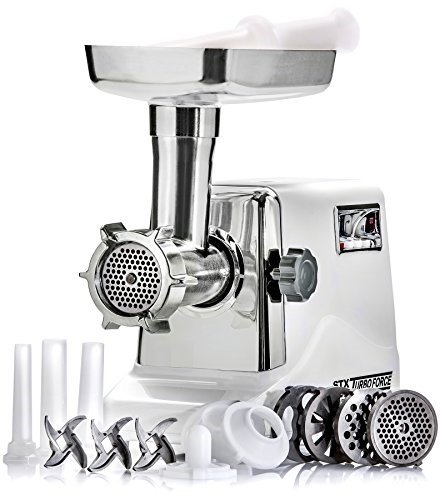STX INTERNATIONAL STX-3000-TF Turboforce 3-Speed Electric with 3 Cutting Blades, 3 Grinding Plates, Kubbe Attachment and Sausage Stuffing Tubes