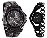 Krupa Enterprise Round Analogue Black Dial Watch for Men and Women (Pack of 2)