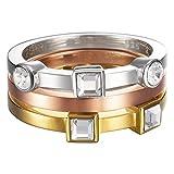 Esprit Damen-Ring Edelstahl rhodiniert Kristall Zirkonia Conjunction tricolor weiß