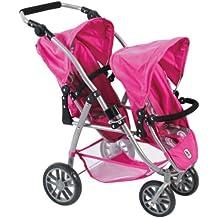 """Bayer Chic 2000 689 87 - Passeggino/tandem per bambole """"Vario"""", colore: Rosa acceso"""
