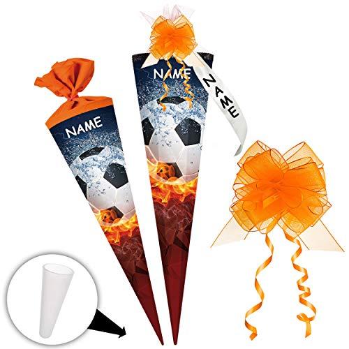stabile Spitze - aus Kunststoff - für Schultüte - Fußball - Ball in Flamme - 22 / 35 / 50 / 70 / 85 / 100 cm - incl. Name und individueller Schleife - mit / o.. ()
