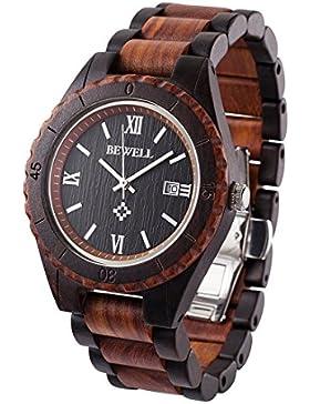 Bewell Herrenuhr Casual Armbanduhr Quarzuhr mit Kalender Display Natürliche Hölzerne Uhren W128AG (Schwarz & Rot)