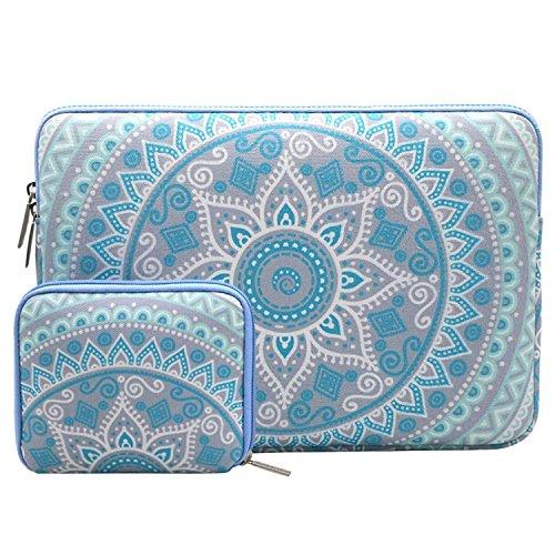 MOSISO Laptoptasche Kompatibel 13-13,3 Zoll MacBook Pro, MacBook Air, Notebook Computer mit Klein Fall, Canvas Gewebe Mandala Muster Hülle Sleeve Case Tasche Notebooktasche, Minze Grün und Blau