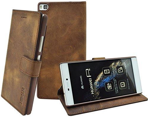 Huawei P8 - Suncase Book-Style (Slim-Fit) Ledertasche Leder Tasche Handytasche Schutzhülle Case Hülle (mit Standfunktion und Kartenfach) antik coffee