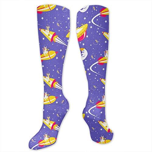 Gped Kniestrümpfe,Socken, Cosmic Cosmonauts Rocket Star Moon Women's Girls Knee High Socks Sports Stockings Football Long - Rocket Girl Kostüm